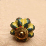 Yellow Pumpkin Ceramic Door / Drawer Knob -  Hooks Knobs