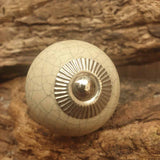 Beige Crackle Ceramic Door / Drawer Knob -  Hooks Knobs