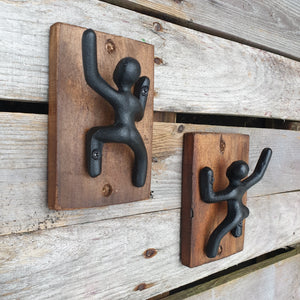 Cast Iron Climbing Man Hook on Wood - 2 styles Left / Right hand up