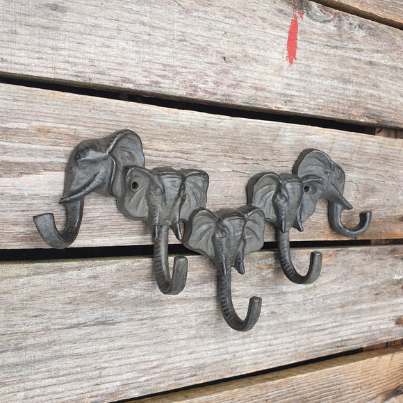 Cast Iron 5 Elephant Head / Trunk Hook
