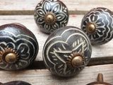 Black Etched Ceramic Door / Drawer Knobs