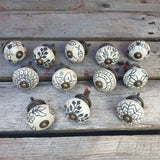 Rustic Gold & Cream Ceramic Door / Drawer Knobs