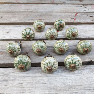 Green Ceramic Door / Drawer Knobs