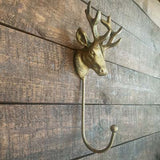 Cast Iron Single Stag Hook - Antique finish