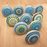 2x Blue and Green Ceramic Door / Drawer Knobs -  Hooks Knobs