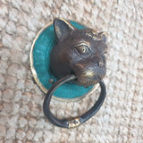 Brass Door Knocker - Cat -  Hooks Knobs