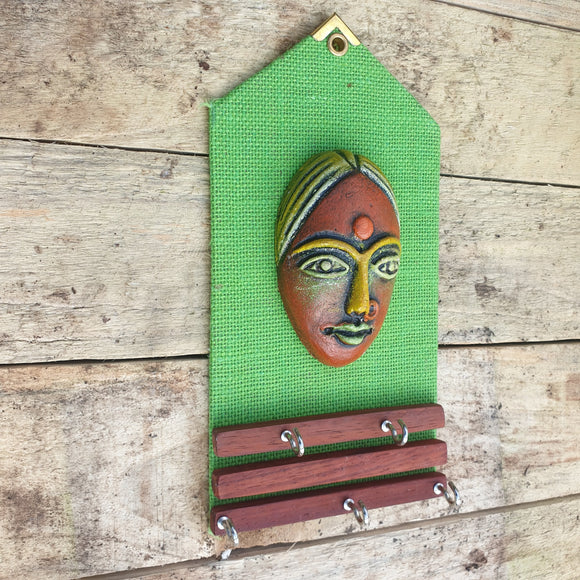 Clay Mask Key Holder - Green -  Hooks Knobs