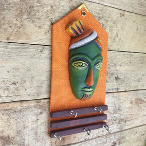 Clay Mask Key Holder - Orange -  Hooks Knobs