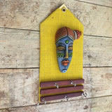Clay Mask Key Holder - Yellow -  Hooks Knobs