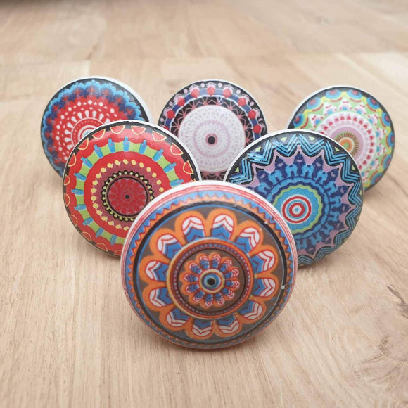 6x Multi Coloured Ceramic Door / Drawer Knobs -  Hooks Knobs