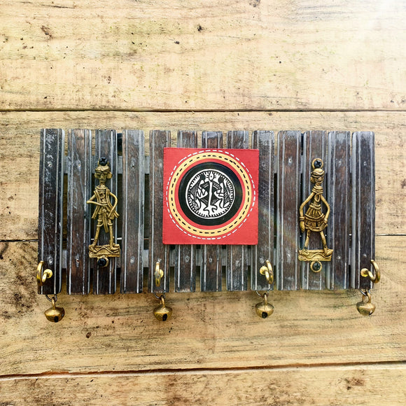 Brass + Wood Key Holder - Dhokra and Warli Art -  Hooks Knobs