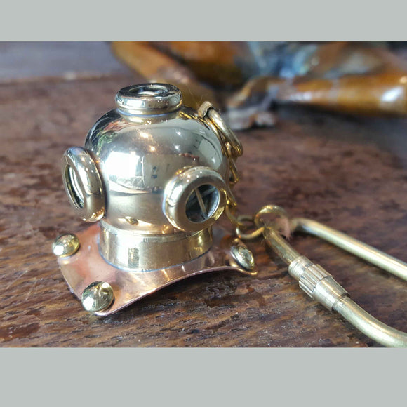 Diver's Helmet Solid Brass Nautical Keyring -  Hooks Knobs