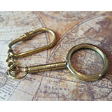 Eye Glass Magnifying Glass solid Brass Nautical Keyring -  Hooks Knobs