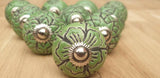2x Green Ceramic Door / Drawer Knobs -  Hooks Knobs