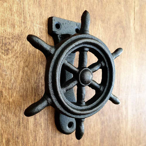 Cast Iron Door Knocker - Ship Wheel -  Hooks Knobs