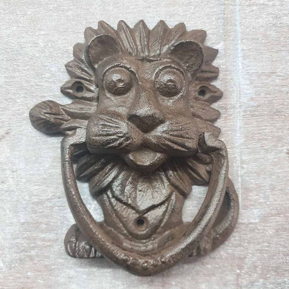 Cast Iron Door Knocker - Lion -  Hooks Knobs