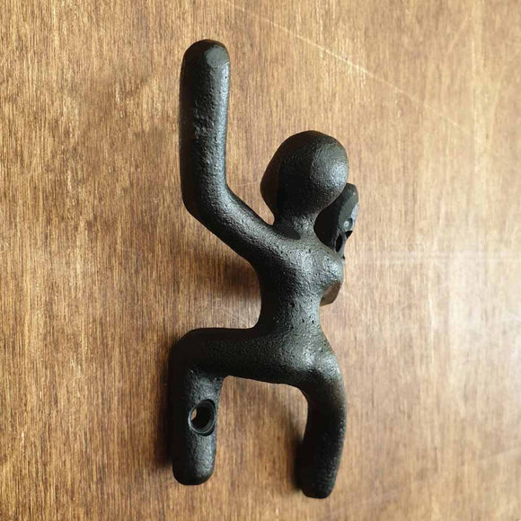 Cast Iron Climbing Man Hook - Left Hand Up -  Hooks Knobs