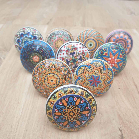 Multi Coloured Ceramic Door / Drawer Knob -  Hooks Knobs