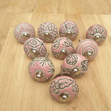 2x Pink Ceramic Door / Drawer Knobs -  Hooks Knobs