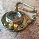 Porthole Bull's-eye Solid Brass Nautical Keyring -  Hooks Knobs