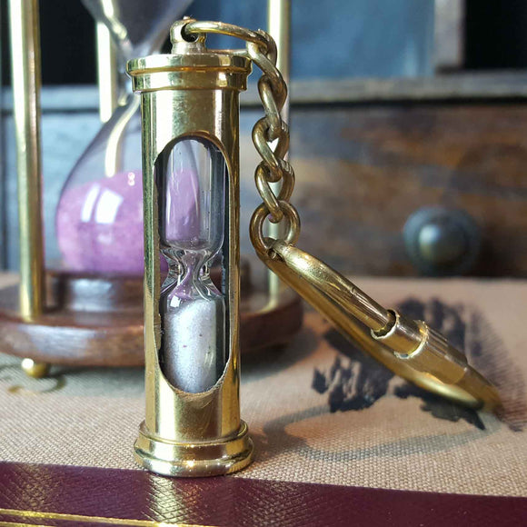 Sand Timer Hour Glass solid Brass Nautical Keyring -  Hooks Knobs