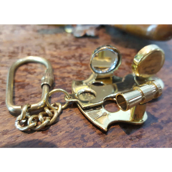 Sextant Solid Brass Nautical Keyring -  Hooks Knobs