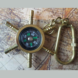 Ship's Wheel Compass Solid Brass Nautical Keyring -  Hooks Knobs