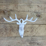 Cast Iron Stag Hook - White -  Hooks Knobs