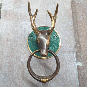 Brass Door Knocker - Stag -  Hooks Knobs