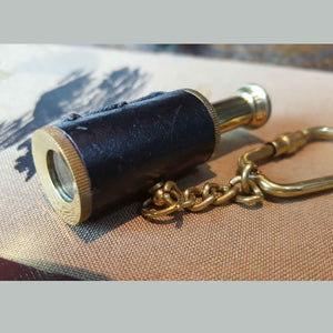 Telescope Solid Brass Nautical Keyring -  Hooks Knobs