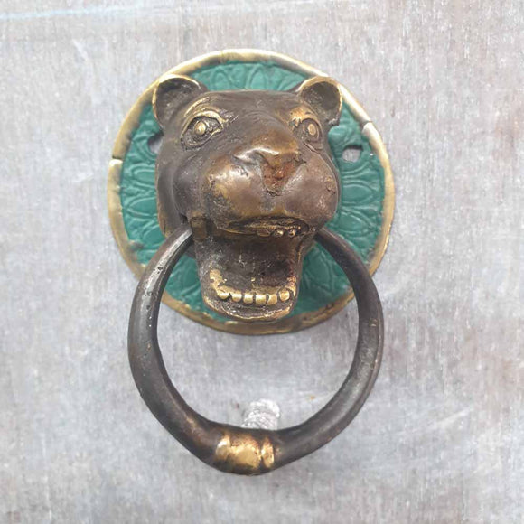 Brass Door Knocker - Tiger -  Hooks Knobs