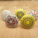 5x Mixed Coloured Ceramic Door / Drawer Knobs -  Hooks Knobs