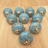 2x Blue Ceramic Door / Drawer Knobs -  Hooks Knobs