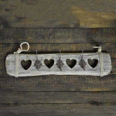 Wooden Coat Rack with Hearts