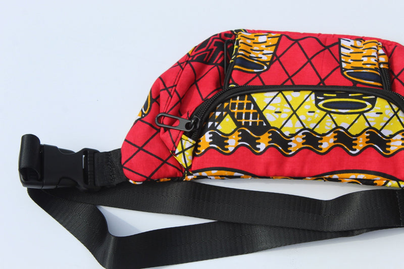 Red African print fanny pack/chest bag/wasit bag