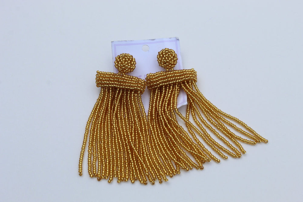 Pure gold African beads earrings