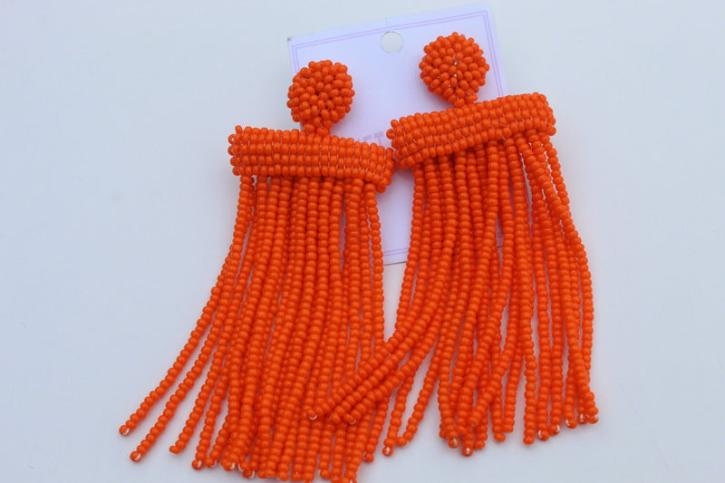 Orange posh beaded earrings