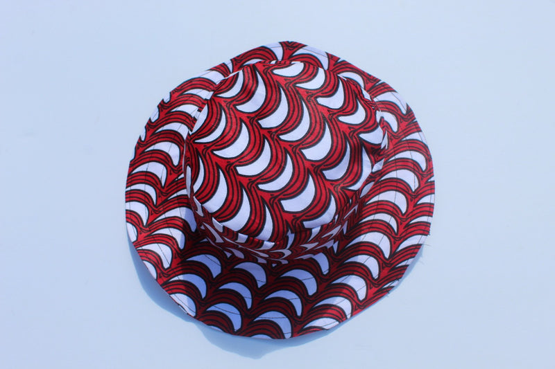 Red African print bucket hat