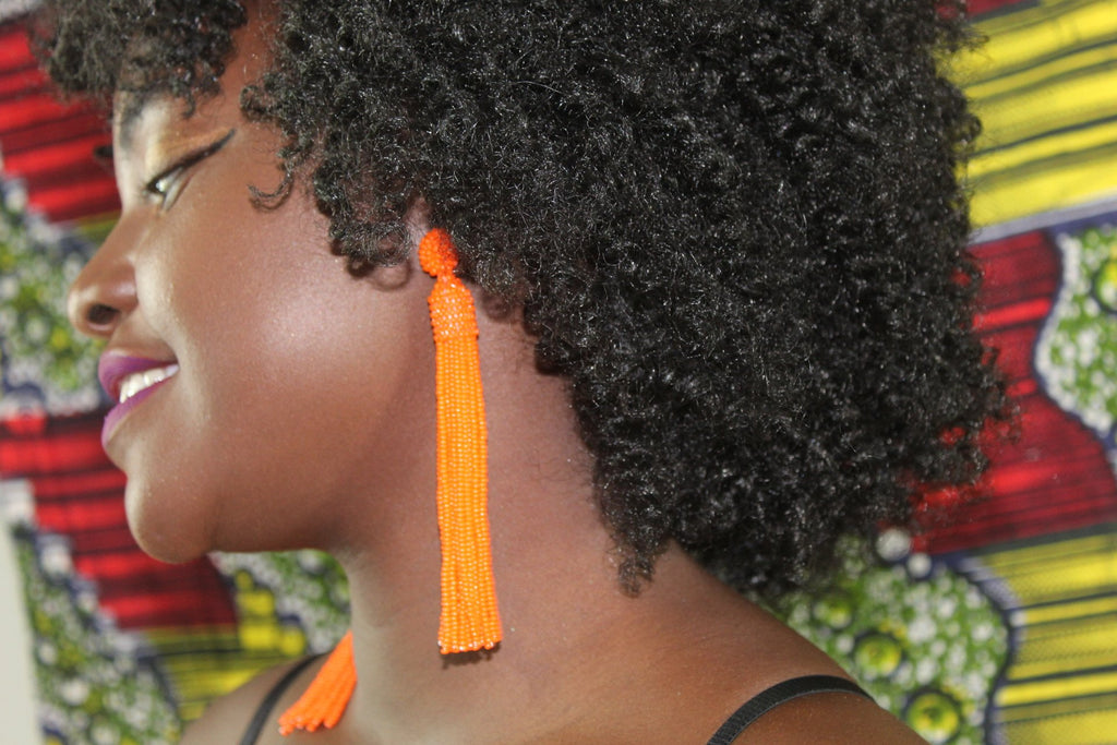 Orange big African tassel  earrings