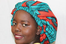Load image into Gallery viewer, African print Kids Blue hair bonnet