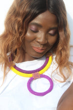 Load image into Gallery viewer, Purple African beaded necklace