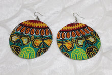 Load image into Gallery viewer, Green African print fabric earrings