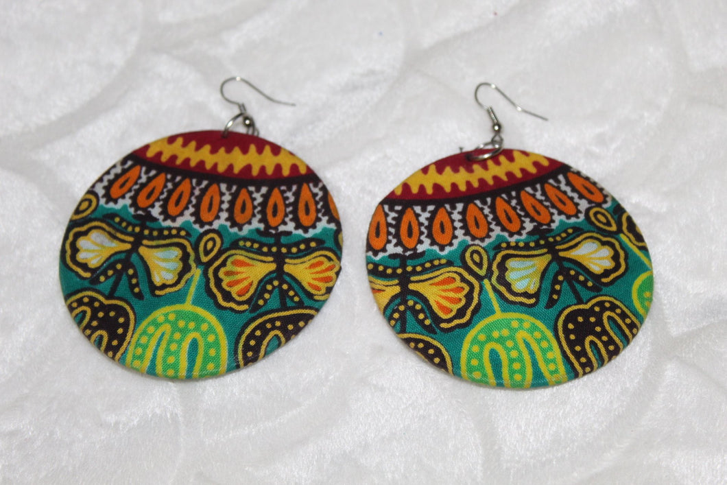 Green African print fabric earrings