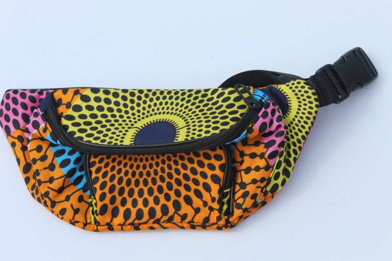 Yellow-orange African print chest bag/ fanny pack