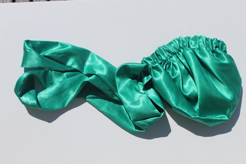Green satin head wrap/turban for women