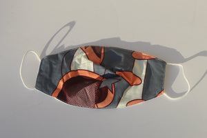 African print fabric mask with filter