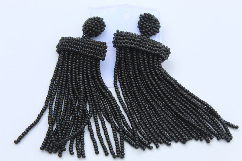 Black posh colourful earrings