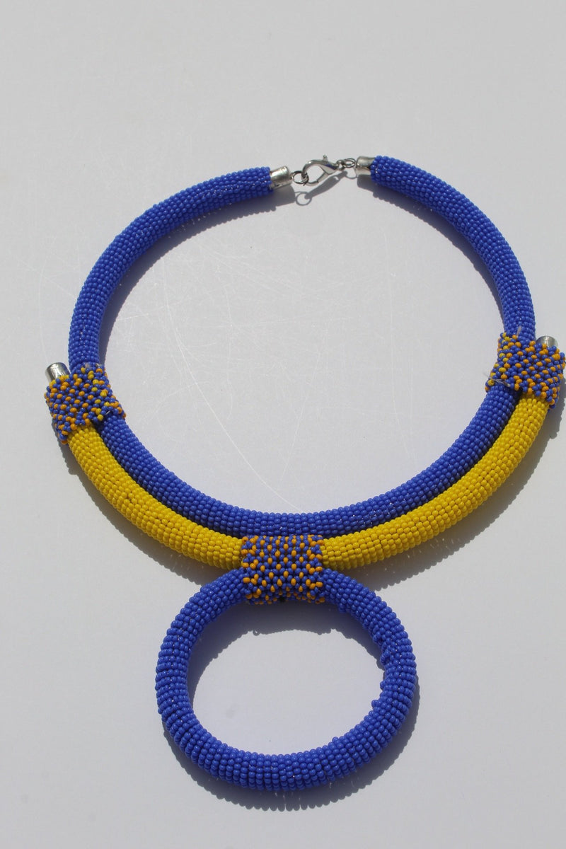 Blue beaded necklace/ African bead necklace