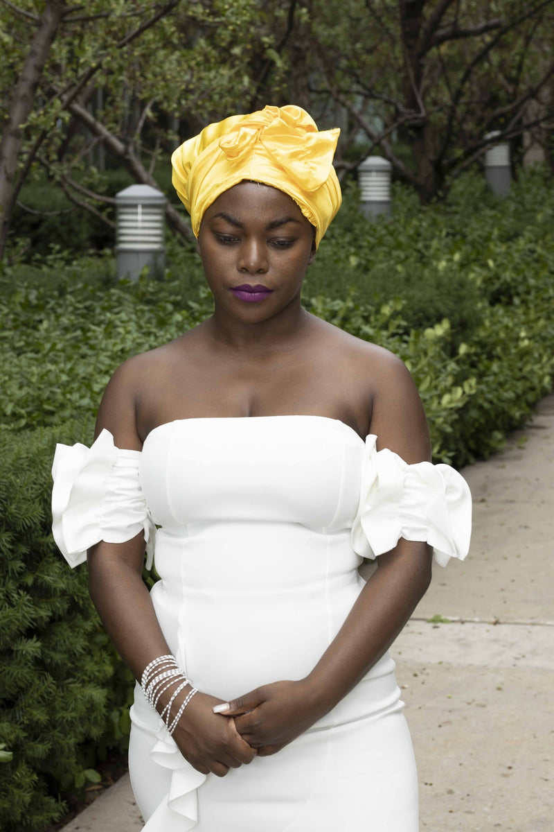 Yellow satin women head wrap/turban