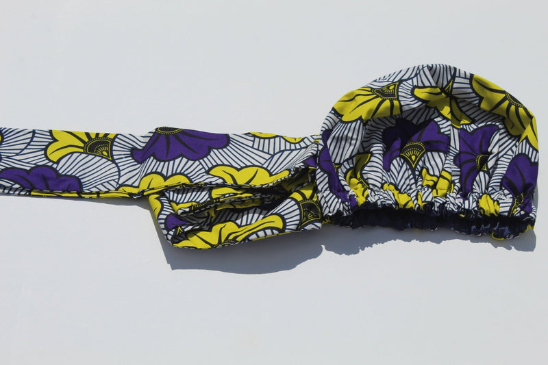 African print head wrap combined with hair bonnet